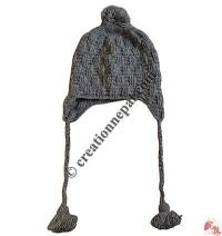 3-line cross-chek woolen ear hat