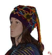 Woolen Rainbow flower tail cap