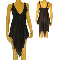 Cotton black sleeveless frills dress