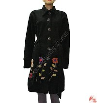 Flower emb fleece long coat