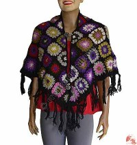 Colorful crochet patch join poncho