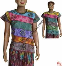 Slanted tie-dye patch rib t-shirt
