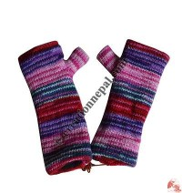 Woolen mixed color tube gloves