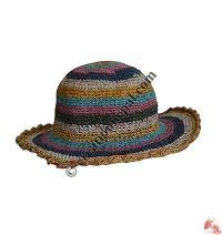 Hemp-cotton stripes round wire hat14