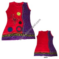 Print and patch flower emb dress