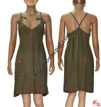 Unique knit cotton halter dress