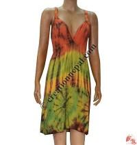 Tie-dye rayon halter dress