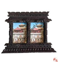 Wooden carved double photo frame