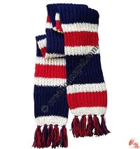 Stripes 3-color woolen muffler