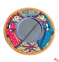 Mithila arts small round mirror