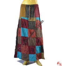 Cotton patch and print long skirt