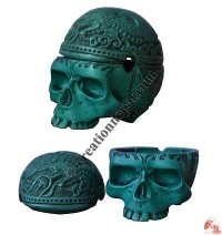 Skull turquoise resin emboss ashtray