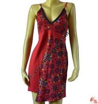 Emb over prints flap halter dress