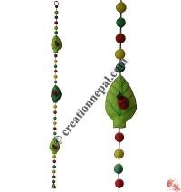 Felt beads-leaves decorative hanging