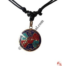 Om mani mantra colorful brass pendant