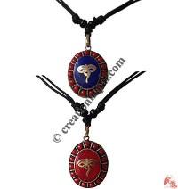 Buddha eye Oval brass pendant