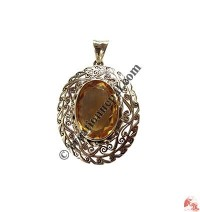 Golden Topaz silver-net pendent
