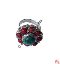 Coral-turquoise flower ring