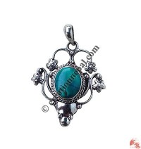 Turquoise silver butterfly pendent