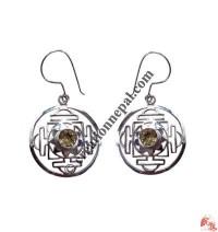 Golden Topaz mandala ear rings