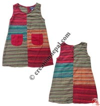 Stripes patch kids dress