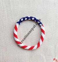 Glass beads US flag bangle