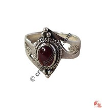 Garnet silver finger ring