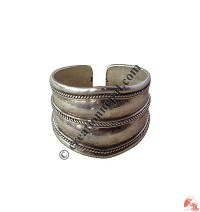 Front-widen plain silver finger ring