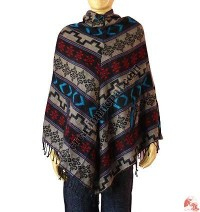 Acrylic-cotton poncho 3