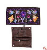 Sued leather embroidered hand purse
