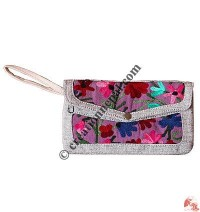 Embroidery large flap purse