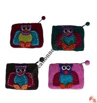 Owl Patch Felt Coin Purse
