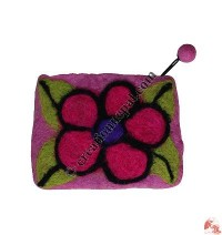 Needle-felt Flower Coin Purse3