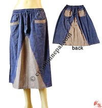 Wedge patch stone wash skirt