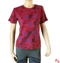 Flower print stone wash rib top