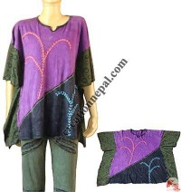 Side printed patch Emb. Koftan top