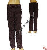 Front razor-cut rib Brown trouser