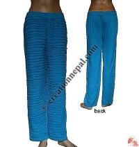 Front razor-cut rib Turquoise trouser