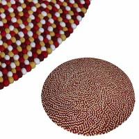 Felt balls round rug1 - 200 cm