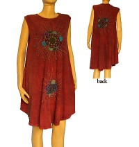 Embroidered 3-sun sinker dress