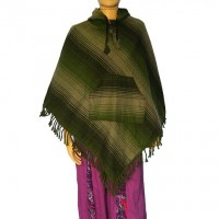 Acrylic-cotton hooded poncho 3