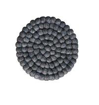 Charcoal colour felt balls Plate Mat