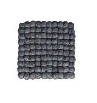 Square shape Charcoal felt balls Plate Mat
