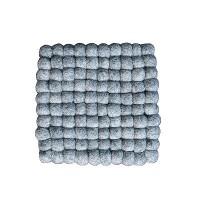 Square shape naturall Grey felt balls Plate Mat