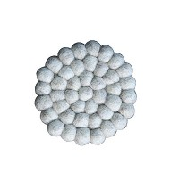 Light Grey felt balls circle shape tea coaster