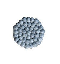 Grey felt balls circle shape tea coaster