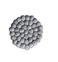 Brown felt balls circle shape tea coaster