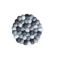 Natural mixed color felt balls circle shape tea coaster