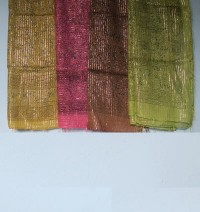 Cotton-jari mixed printed square scarf