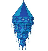 Blue color Large cotton jhumar lamp shade